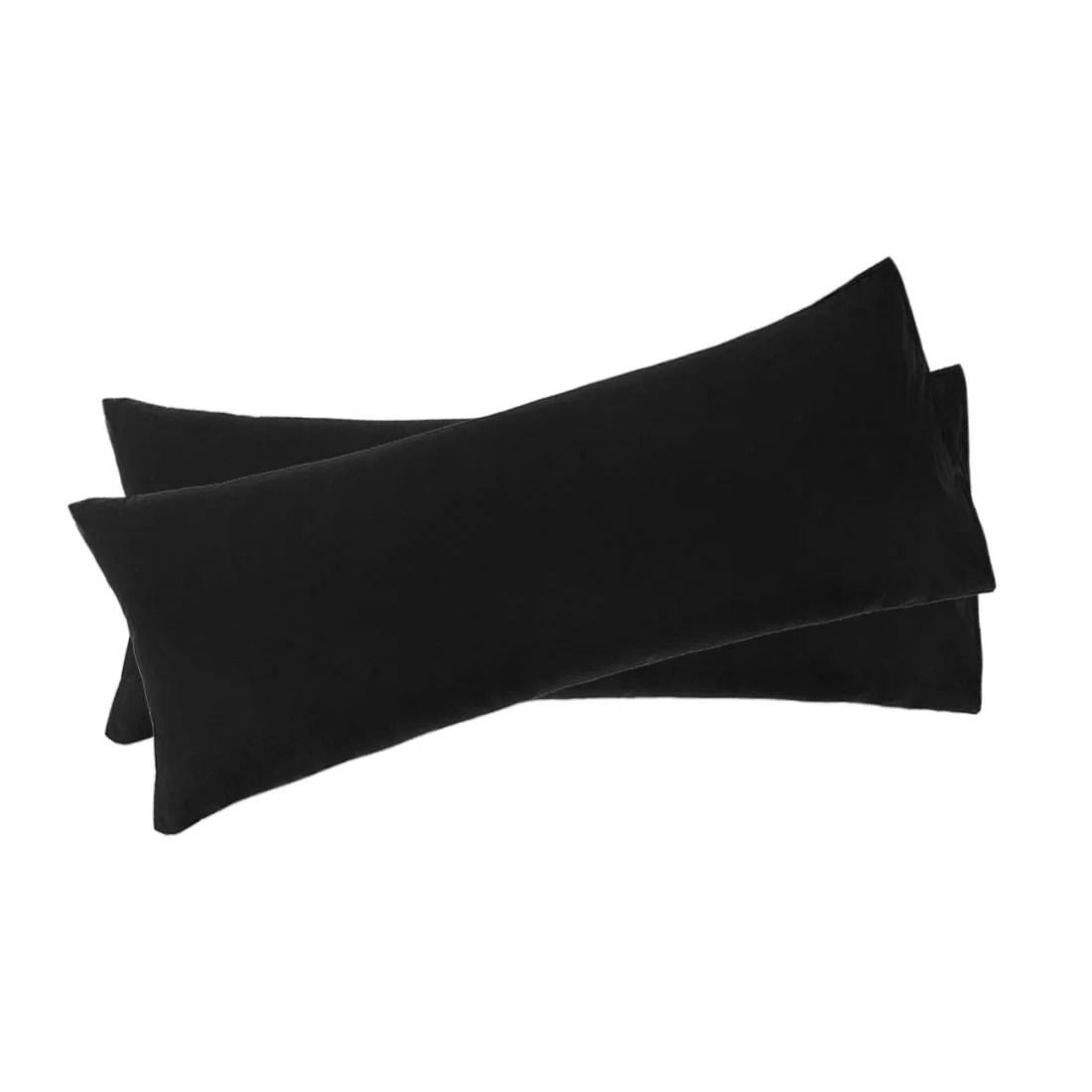 unique bargains 2 pack microfiber body pillow cases black 20 x 48