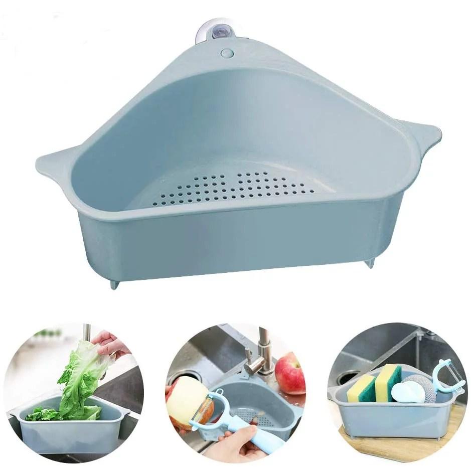 sink strainer basket triangular sink drain shelf corner with suction storage rack sucker filter for bathroom organizer