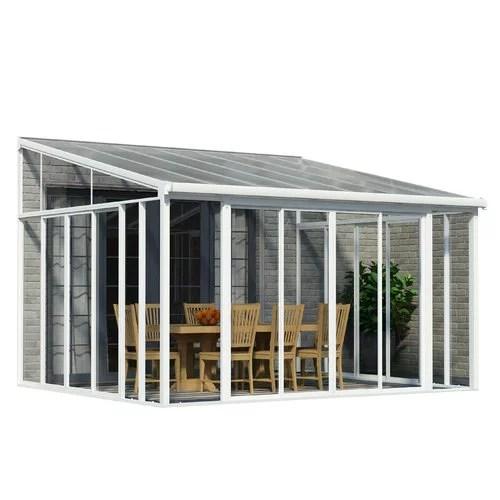 palram sanremo enclosure 13 ft w x 14 ft d aluminum wall mounted patio gazebo