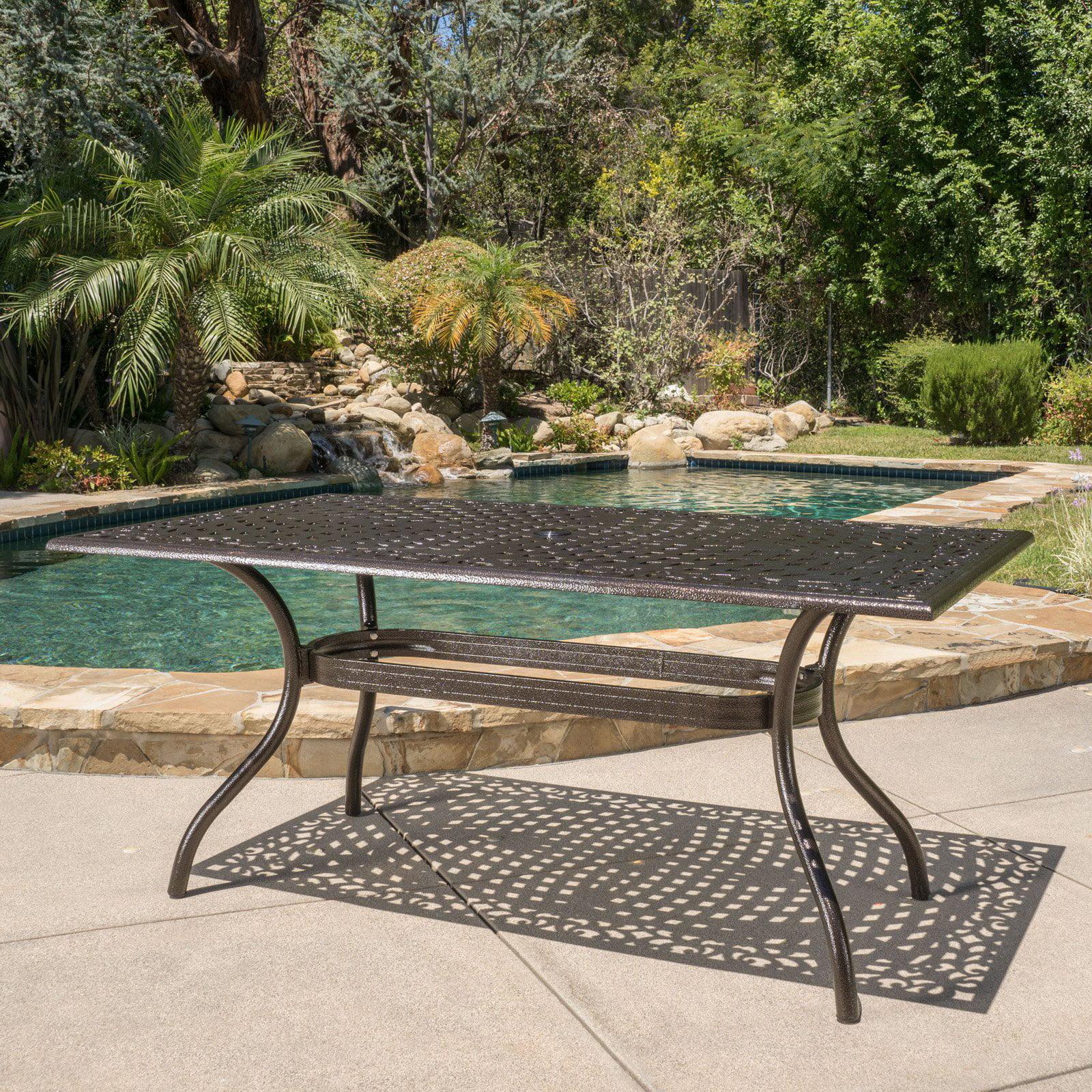 bogota cast aluminum rectangular patio table with hammered bronze finish