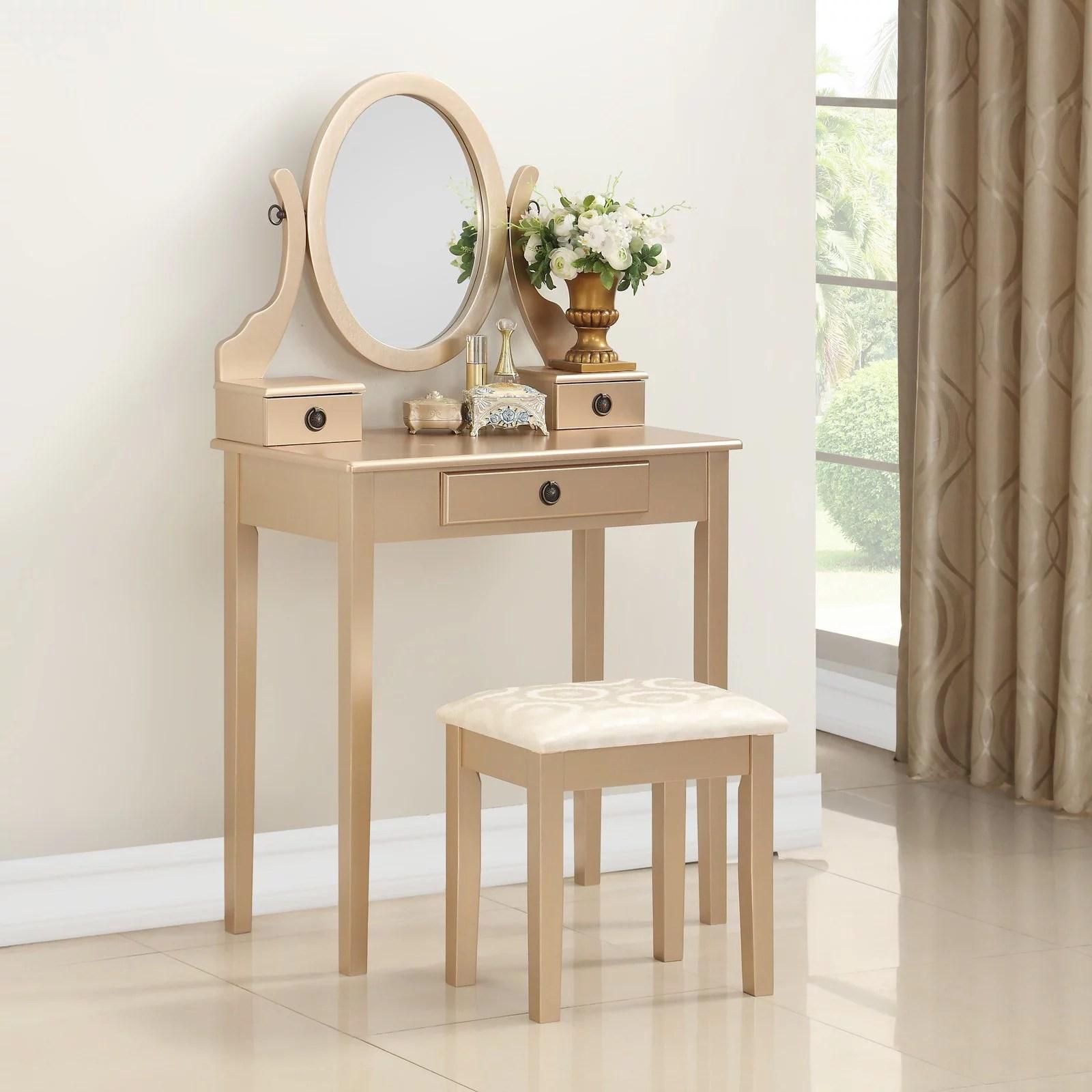 roundhill moniya wood makeup vanity table and stool set gold