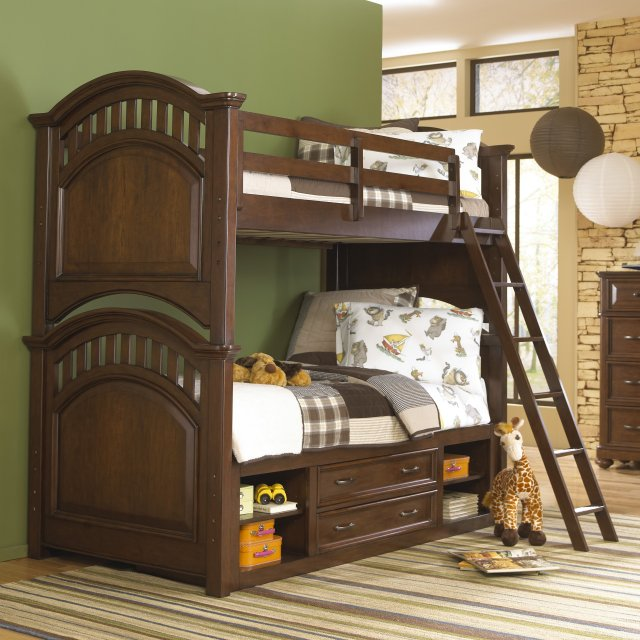 Expedition Twin over Twin Bunk Bed Cherry Walmart