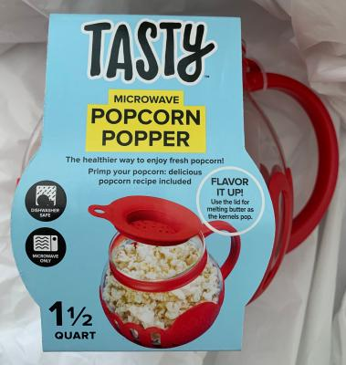 tasty borosilicate glass micro pop microwave popcorn popper 1 5 qt red