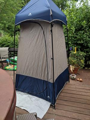 ozark trail 1 room camping shower and utility tent 1 person capacity blue
