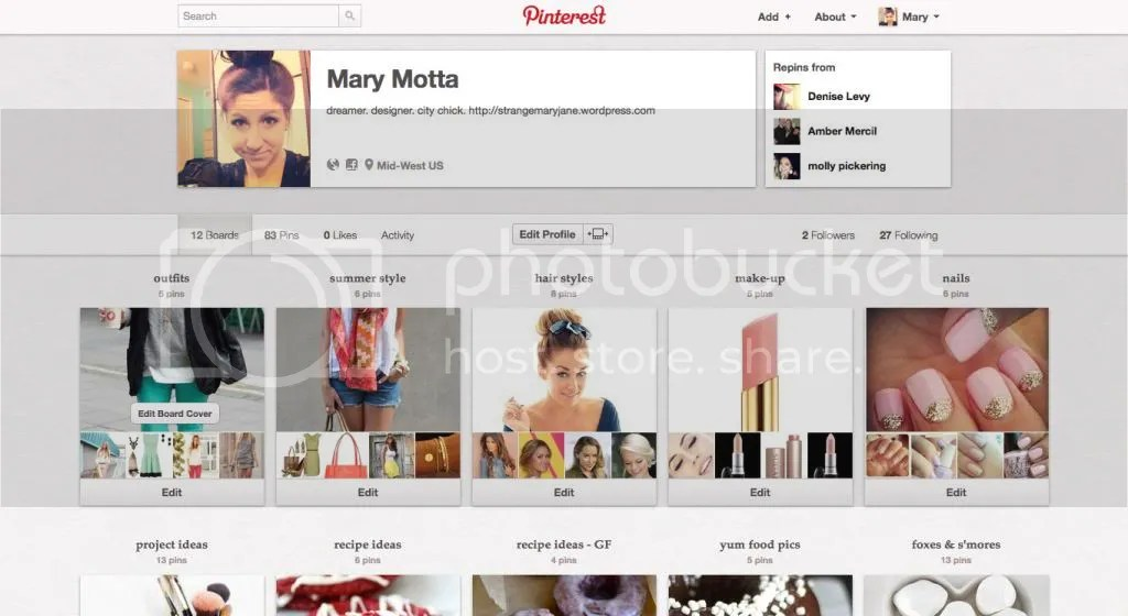 Mary's Pinterest page