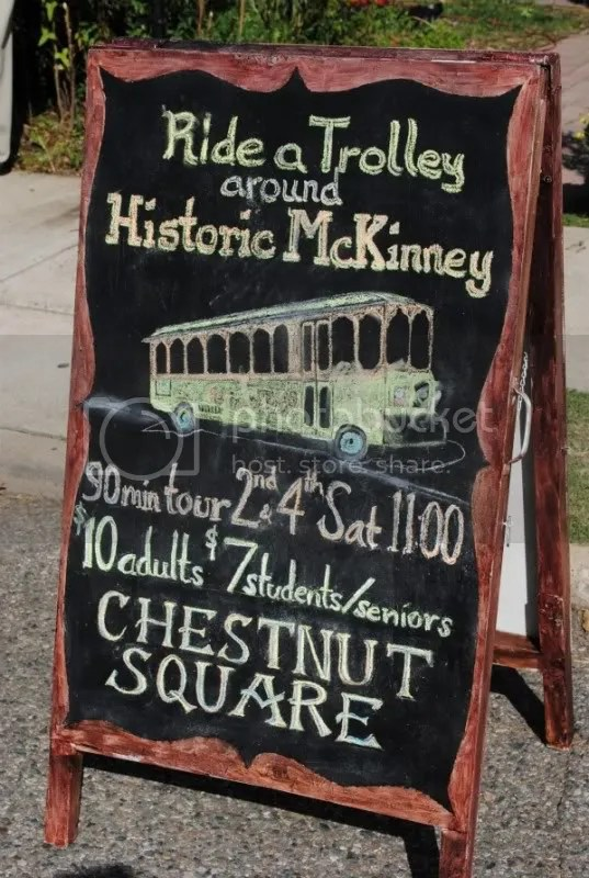 Trolley Rides Sign at Chestnut Square
