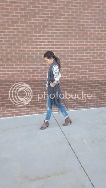Bell sleeve stripe top, sweater duster, distressed crop jeans, booties