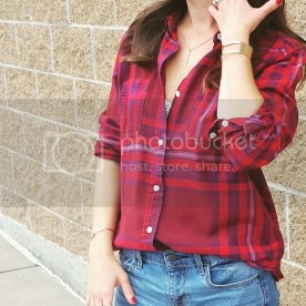 Red Plaid button up with shorts