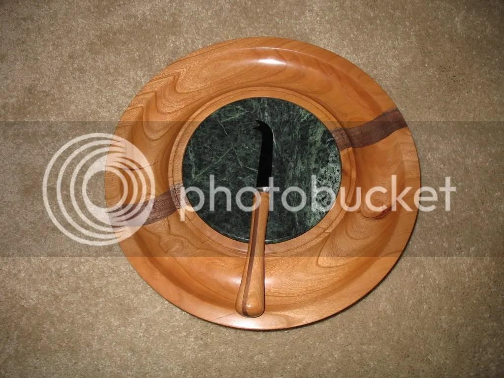 Cheese board & knife, cherry w/walnut stripe, green marble insert