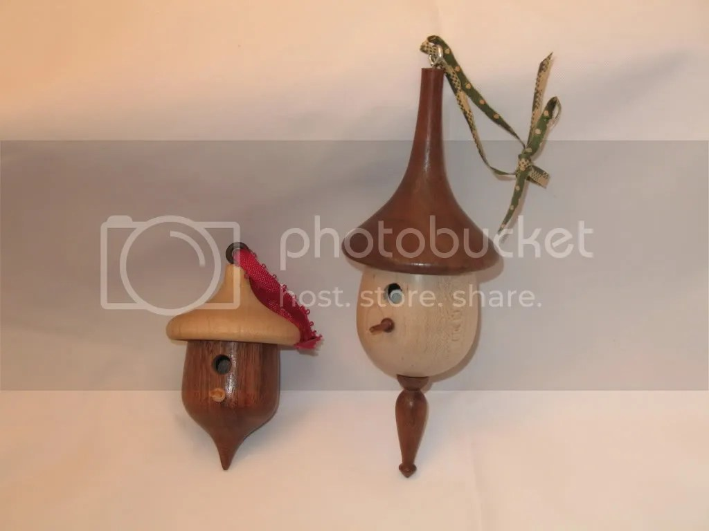 Small and large ornaments, walnut and maple