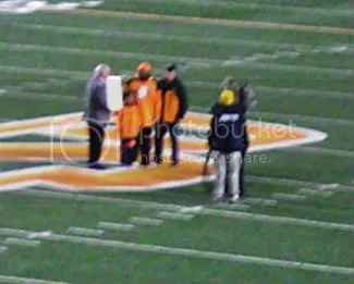 Thurman Thomas (the largest orange blur) was honored during the first quarter.