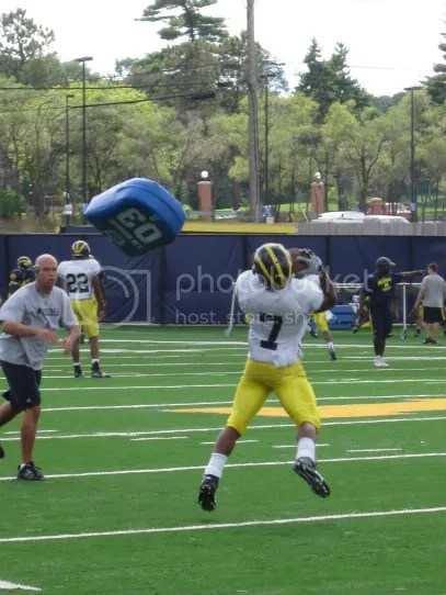 Terrence Robinson fields a punt. He caught this one, but I couldnt help but notice that there were a few dropped punts today.