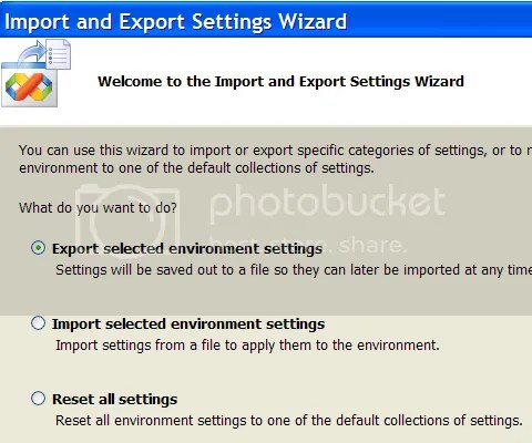 Visual Studio 2005 Export Import Settings