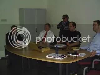 Duduk dari kiri-kanan. Iwan (copromotor), Hugo Kubinyi, Maikel (Post Doc), dan Rogier (Post Doc).