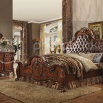 Dresden Ornate 4pc Cherry Oak Queen Bed Set With Upholstered Headboard Ebay