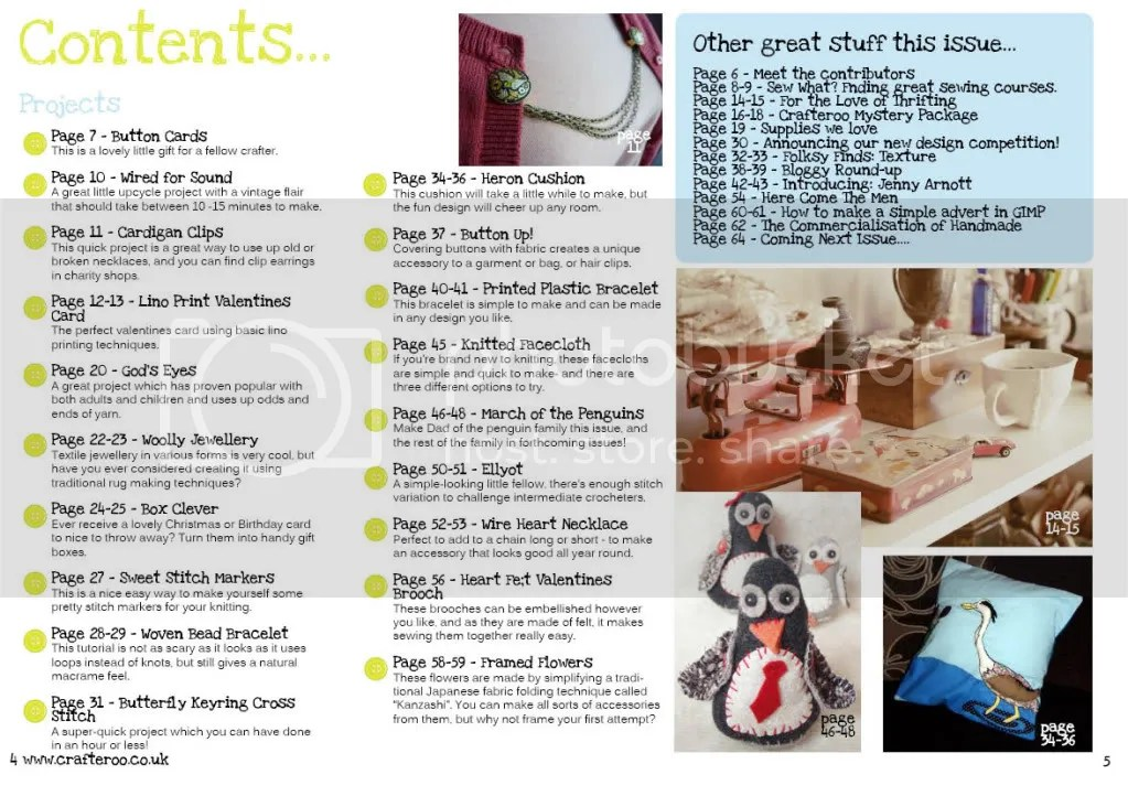 Issue 2 of Crafteroo magazine - contents