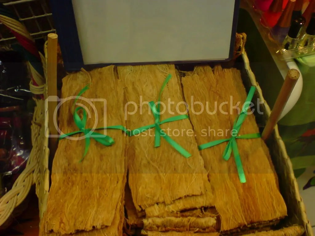 Image of gugo, barks of plant rolled upon, used as traditional shampoo