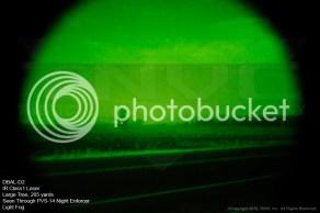 DBAL-D2 Láser IR Clase 1. Árbol a 190 metros visto a través de un PVS-14 Night Enforcer con algo de niebla.