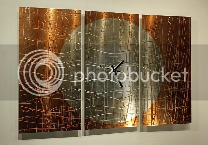 Modern Abstract Copper Metal Wall Art Sculpture Clock