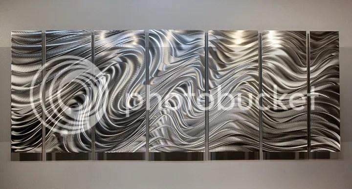 Modern Abstract Silver Corporate Metal Wall Art Sculpture