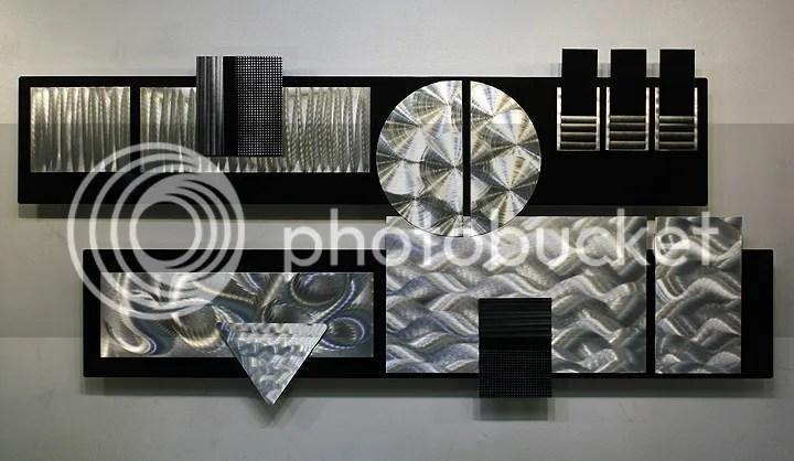 Modern Abstract Silver/Black Metal Wall Art Decor