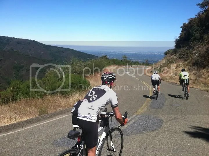 Cyclists descending Mount Umunhum Road
