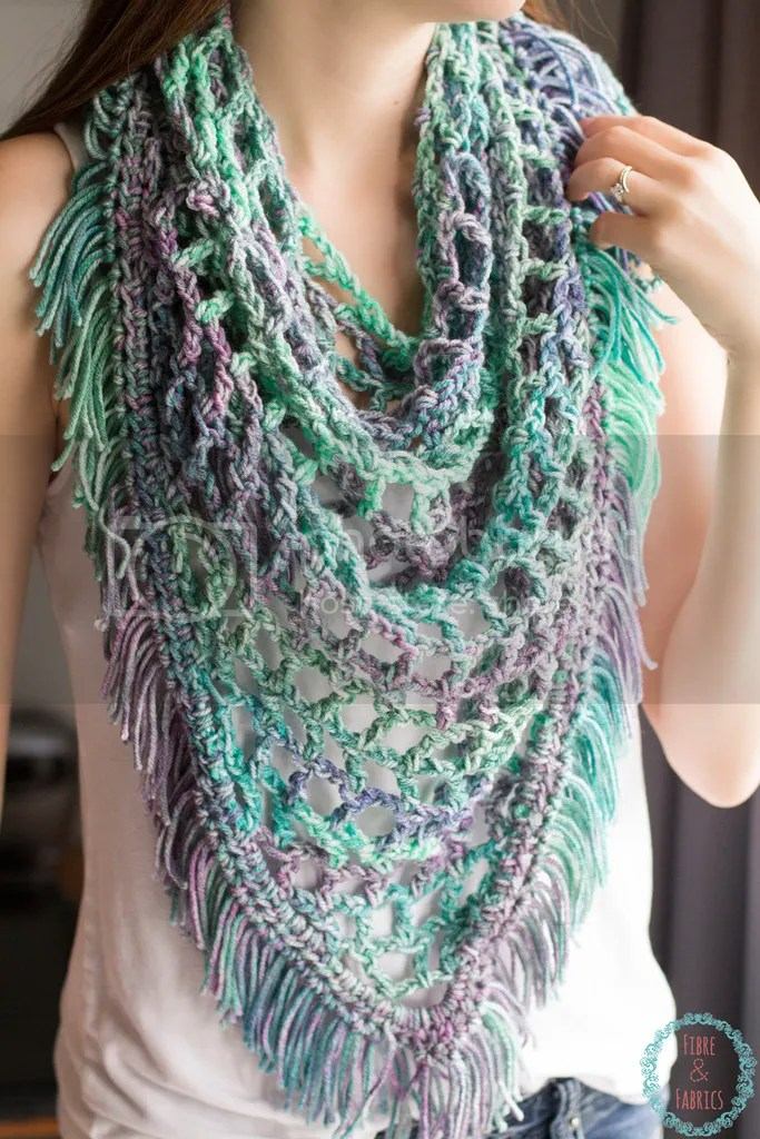Spring Crochet Fringe Scarf / Shawl - by Fibreandfabrics ♥ Available on Etsy - Custom orders welcome - @fibreandfabrics #etsy #crochet