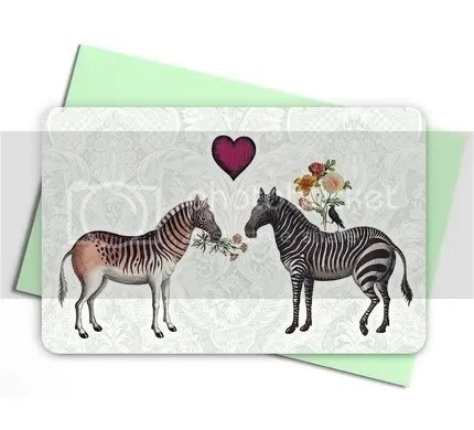 Love is in the air - set of 4 cute kitsch notecards and envelopes