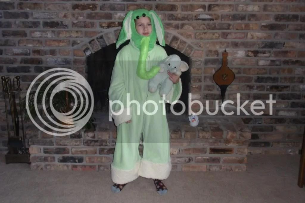 october,2010,halloween,costume,green elephant,emma