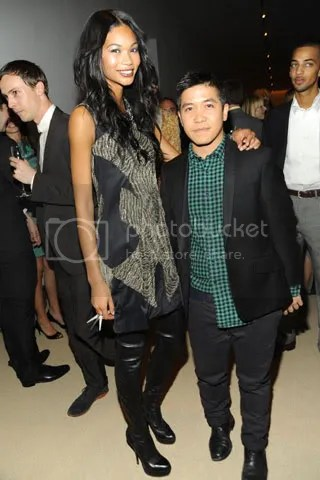 Chanel Iman with Thakoon in one of his designs.