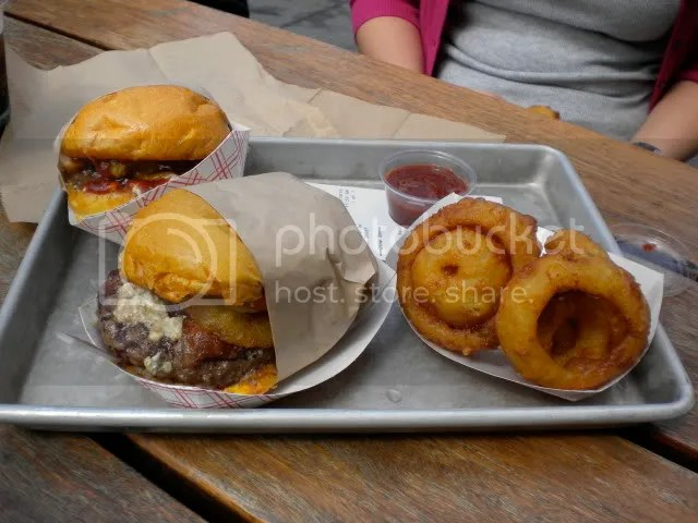Joe and Marci's burgers with onion rings