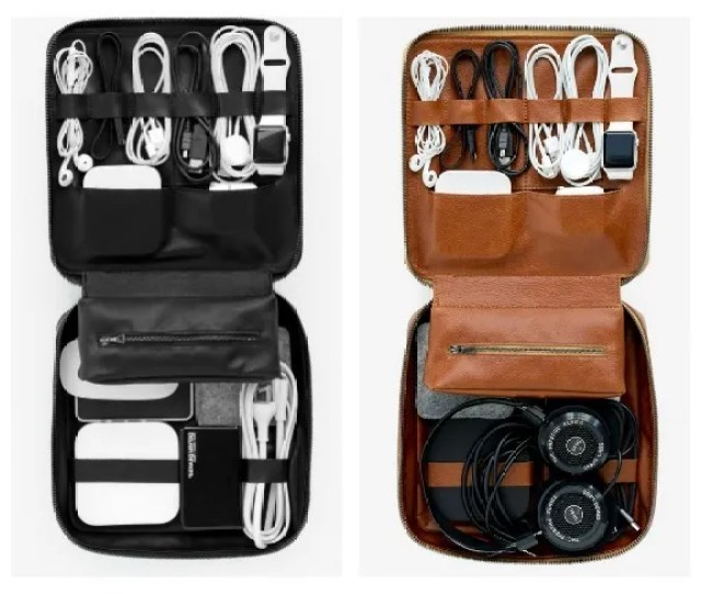 Cool Tech Gifts For Travelers Handmade Monogrammed Leather Tech Dopp Kits From This Is