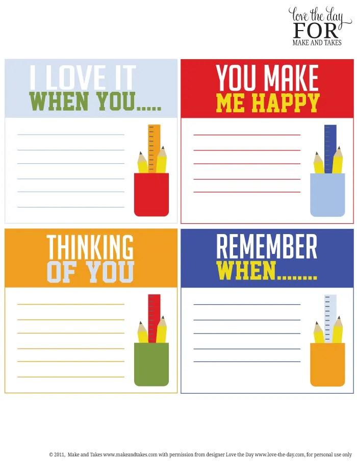 Free printable idea starter lunchbox notes at Make and Takes