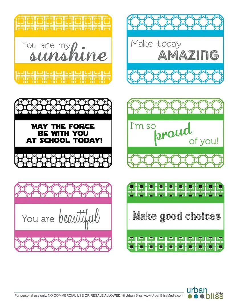 Free printable lunchbox love notes at UrbanBliss Life