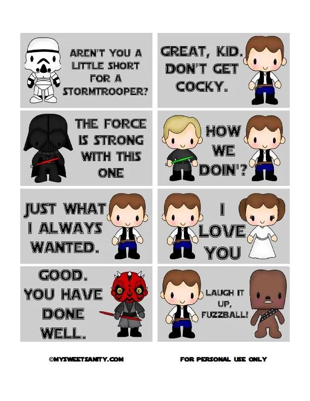 Free printable Star Wars lunchbox notes   My Sweet Sanity