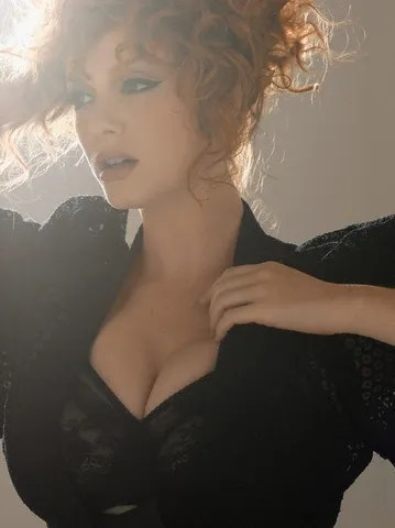 Christina Hendricks black bra