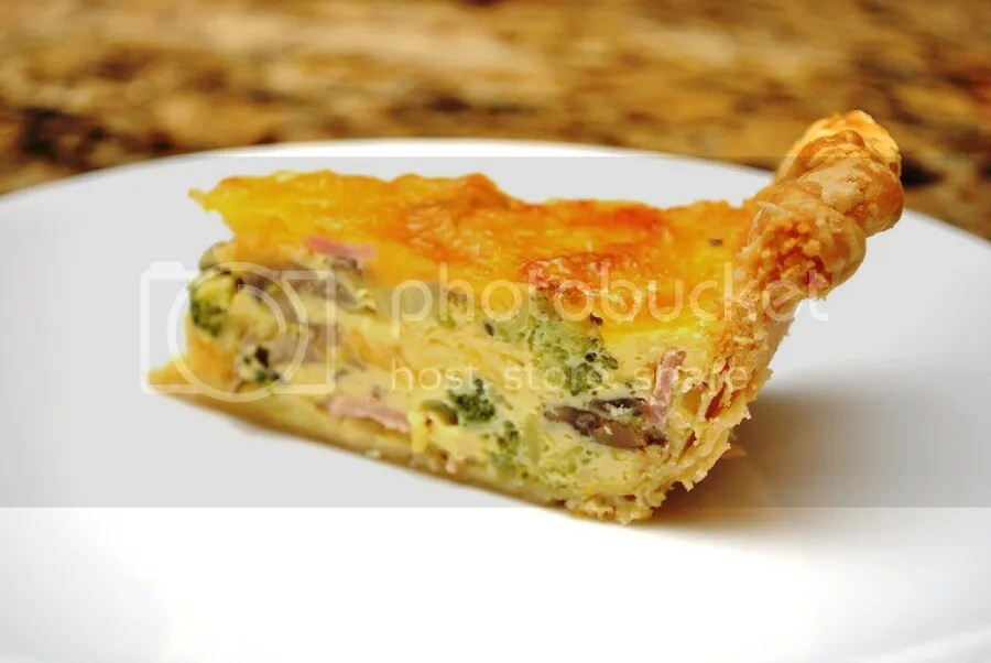 Warm custardy quiche