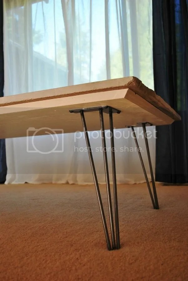 Marble Remnant coffee table with hairpin legs