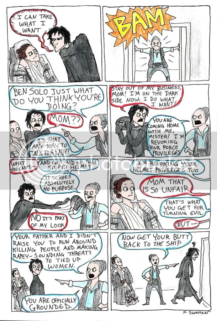 comic de Leia regañando a Kylo