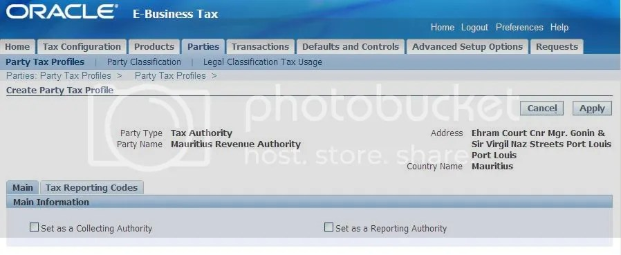 Create Party Tax Profile