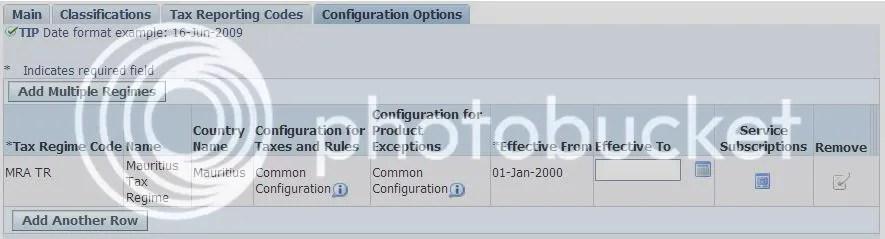 Party Tax Profile - Configuration Option
