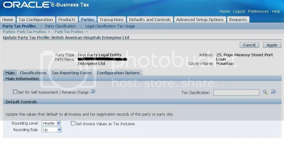 Update Party Tax Profile - Main