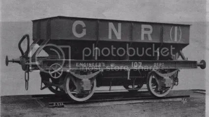 GNR ballast hopper no. 107, a Nielson makers photo, showing GNR(I) lettering (Photo: The Locomotive Magazine & Railway Carraige & Wagon Review, January 14th 1911)