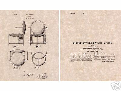 frank lloyd wright 1937 desk chair, us patent print