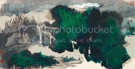 photo ZhangDaqianAncientTempleInTheMist1978SplashedInkAndColourOnPaper.jpg
