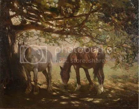 photo FrederickHallTwoHorsesInTheShadeOilOnCanvas.jpg