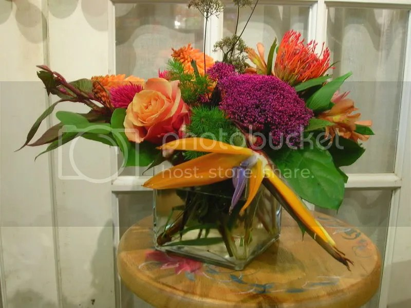 The birds of paradise incorporate all the colours we used throughout the arrangement
