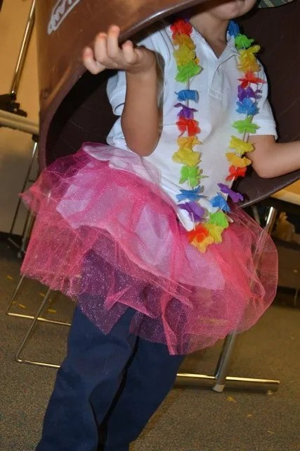 A tutu, a lei - and a drum you can wear on your head!