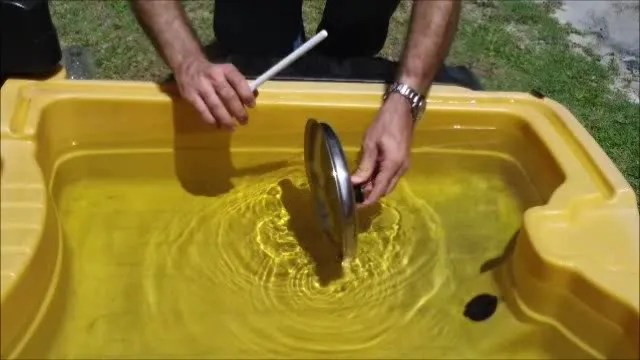 Dipping a pot lid in water for music