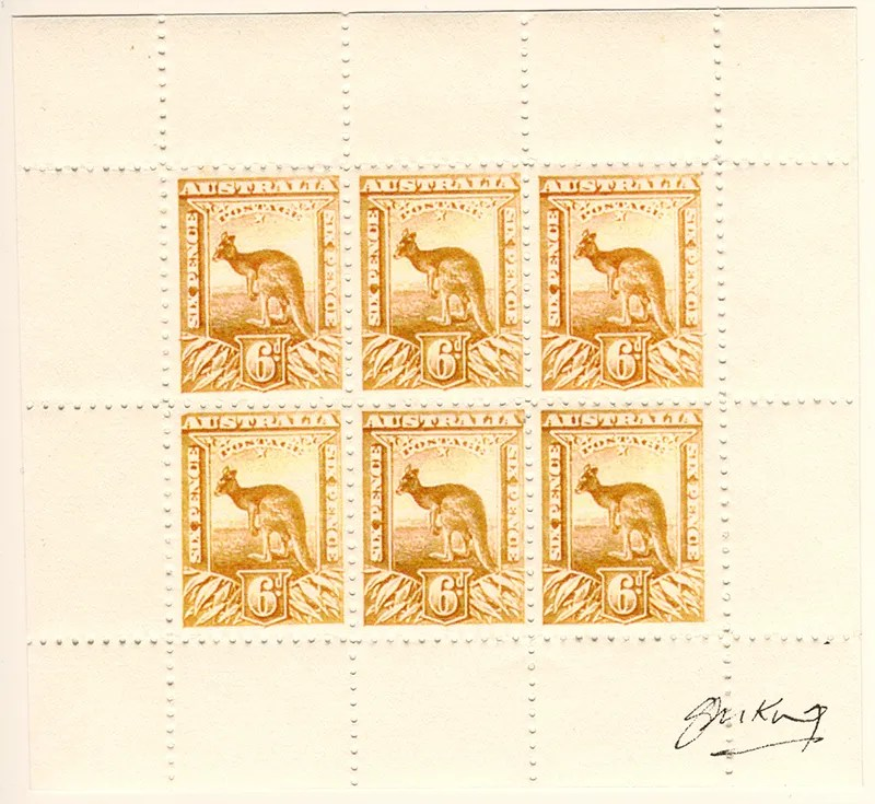 Gerald King - Alternative Australia - 1913. Baldy Essays (Six Pence stamps in a mini sheet of six labels - Yellow stamps - Perforated) - Signed